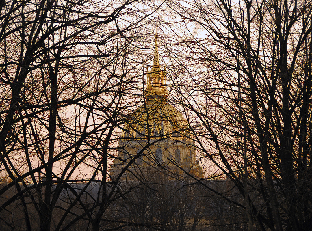 The branches of the winter trees seems to form a guard of honor for the invalides' golden dome.