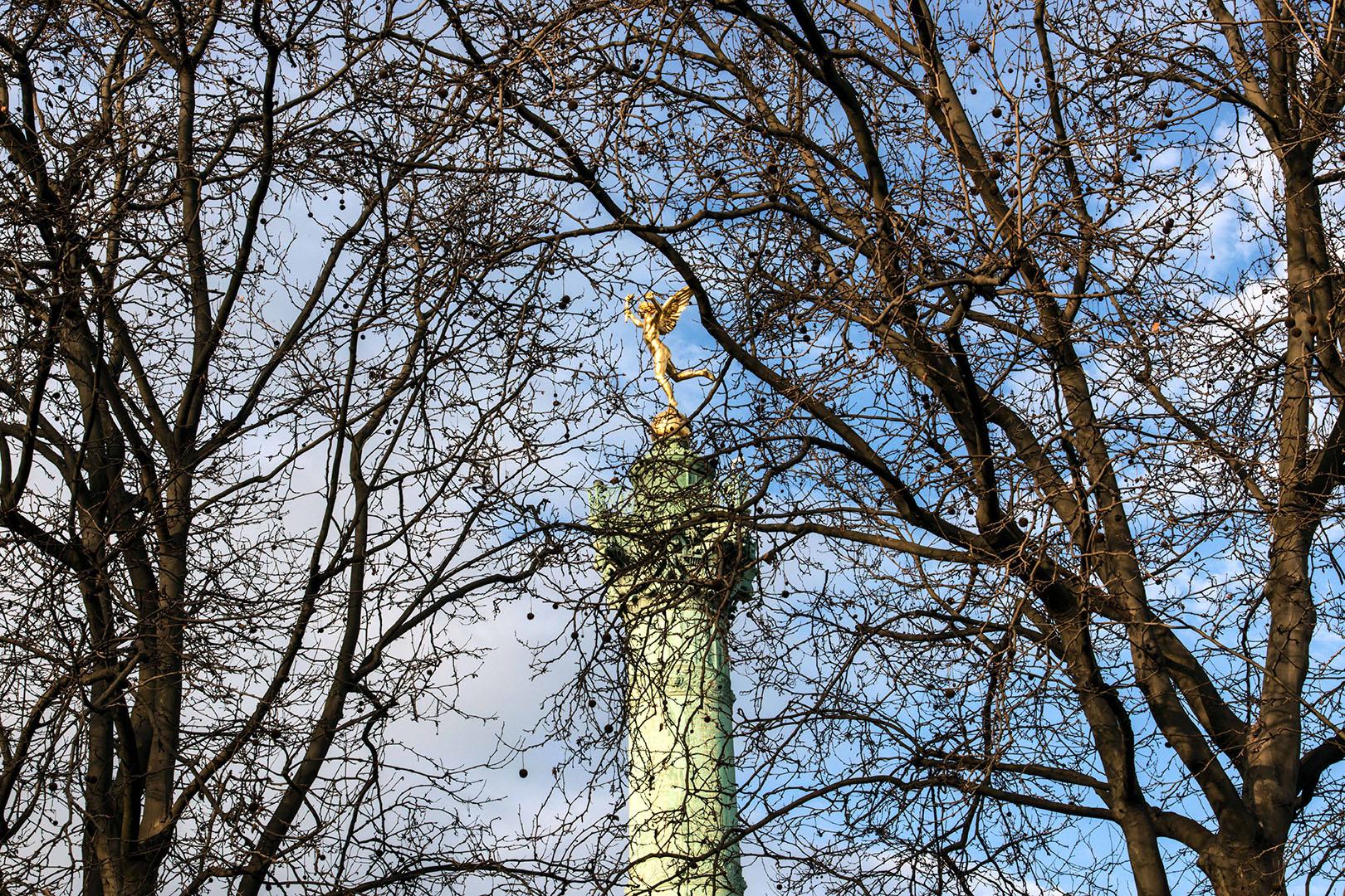 Nu au sommet de la colonne, le Génie de la Bastille, symbole de la Liberté, marche au milieu des arbres.